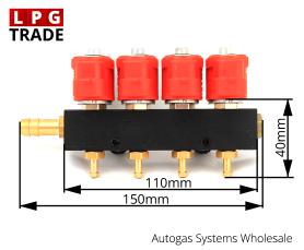 Valtek 3Ohm Type-30 4-Cylinder LPG CNG Autogas Proane Injectors Rail Dimension Size Front