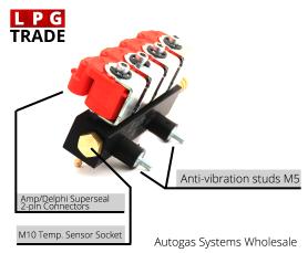Valtek Type-30 4-Cylinder LPG CNG Autogas Proane Injectors Rail Technical Details Temperature Sensor