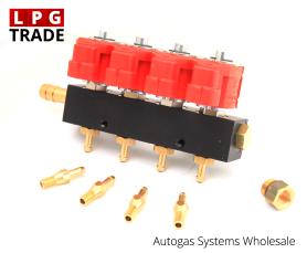 Valtek Type-30 4-Cylinder LPG CNG Autogas Proane Injectors Rail with nozzles